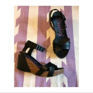 Blowfish Cork and Faux Leather Wedge Sandals
